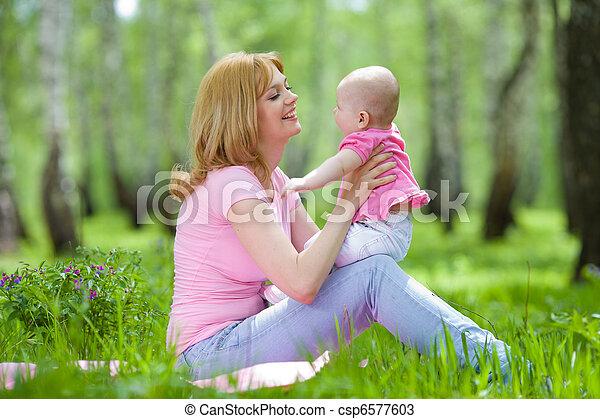 公園, 春, シラカバ, 娘, 母 - csp6577603