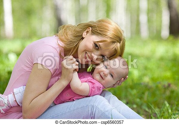 公園, 春, シラカバ, 娘, 母 - csp6560357