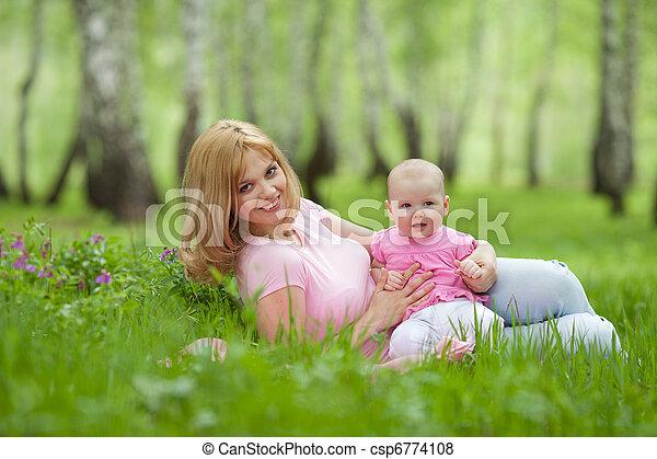 公園, 春, シラカバ, 娘, 母 - csp6774108