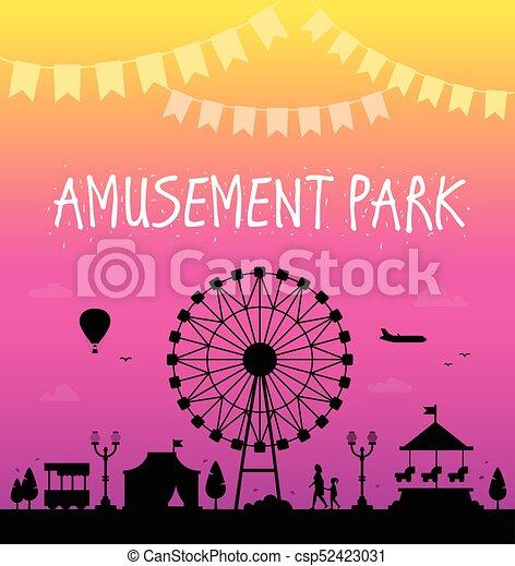 公園, 現代, -, イラスト, ベクトル, 娯楽 - csp52423031