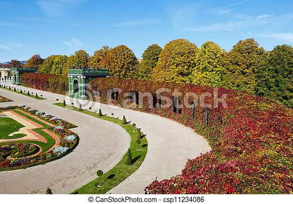 公園, 秋, 絵のよう - csp11234086