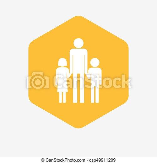 六角形, 家族, 親, pictogram, 隔離された, 単一, マレ - csp49911209