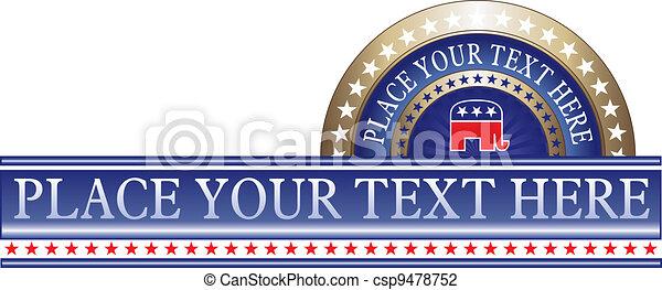 共和党員, 政治的である, ラベル - csp9478752