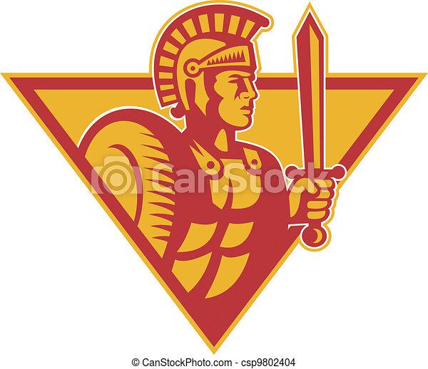 兵士, ローマ人, centurion, 保護, 剣 - csp9802404