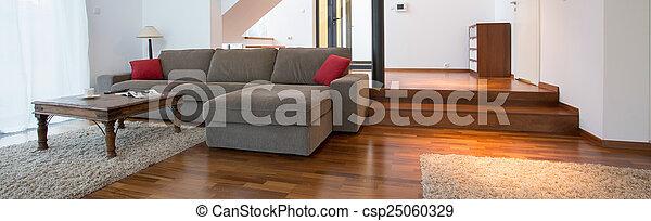内部, ソファー, 中, 灰色, 広い - csp25060329