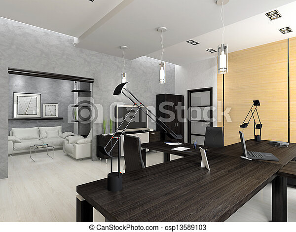 内部, レンダリング, 現代, オフィス, 3d - csp13589103