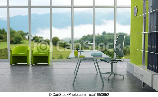 内部, 現代, オフィス - csp1653652