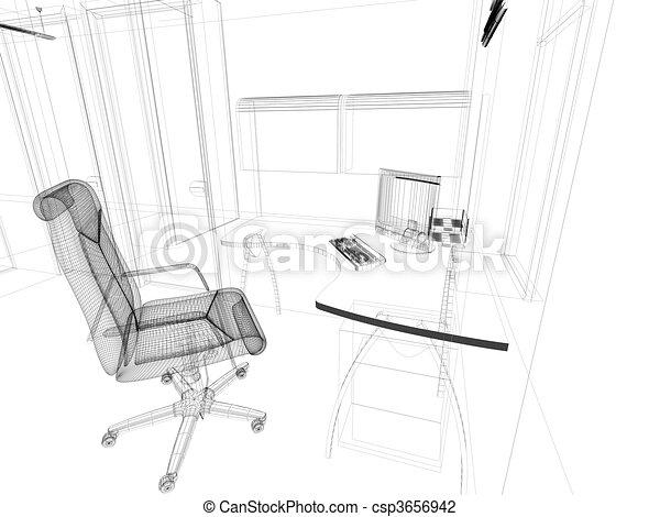 内部, 現代, オフィス - csp3656942