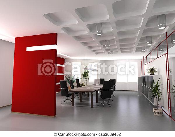 内部, 現代, オフィス - csp3889452