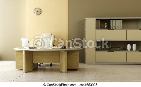 内部, 現代, オフィス - csp1653936