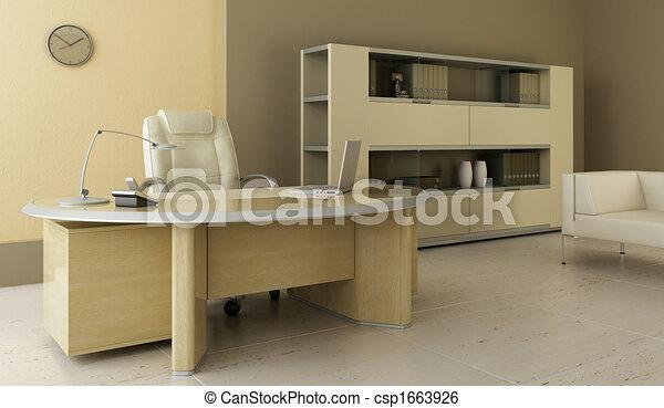 内部, 現代, オフィス - csp1663926