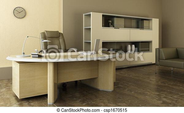 内部, 現代, オフィス - csp1670515