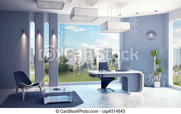 内部, 現代, オフィス - csp4314843