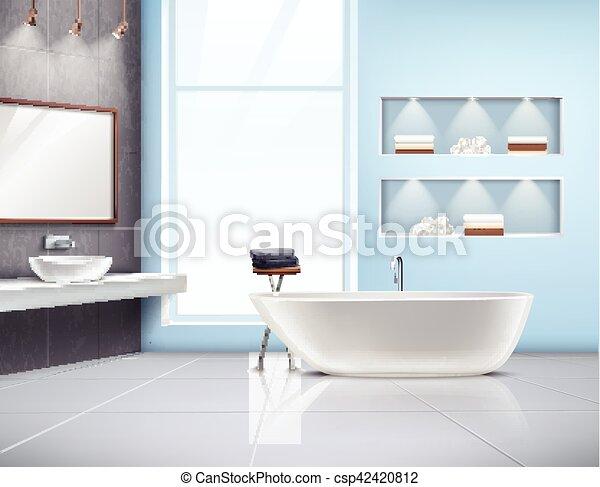 内部, 現実的, 浴室, デザイン - csp42420812