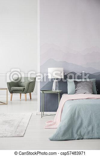 内部, 肘掛け椅子, 緑, 寝室 - csp57483971