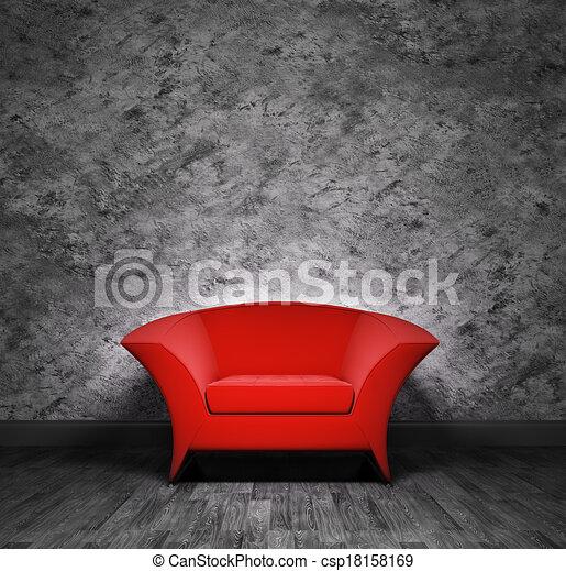 内部, 肘掛け椅子, 赤 - csp18158169