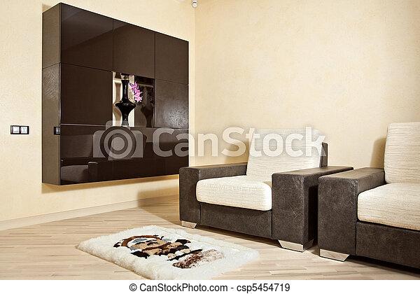 内部, 適所, 部分, 肘掛け椅子, カーペット - csp5454719