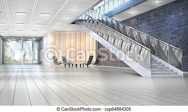 内部, 3d, ホール, イラスト, 階段。 - csp64884305
