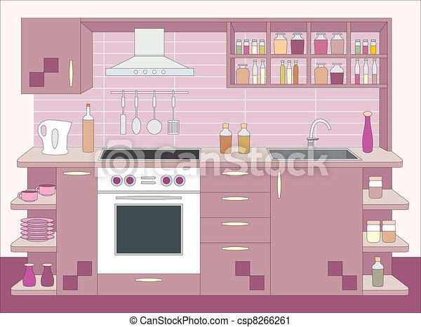 内部, furniture., 厨房 - csp8266261