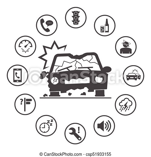 円形にされる, アイコン, 単純である, 自動車, set., accidents., ベクトル, デザイン, 保険, 原因, アイコン - csp51933155