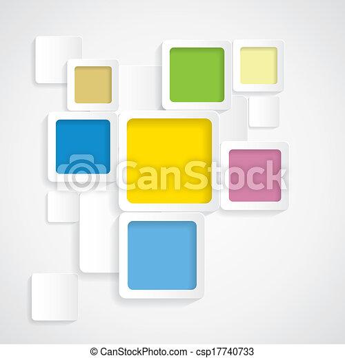 円形にされる, カラフルである, graphi, -, ベクトル, 背景, ボーダー, 正方形 - csp17740733
