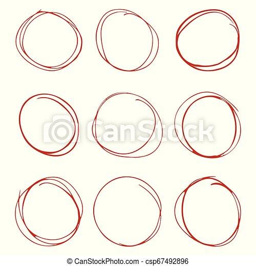 円, セット, 手, 背景, 引かれる, 白 - csp67492896