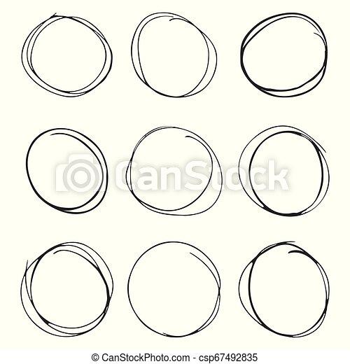 円, セット, 手, 背景, 引かれる, 白 - csp67492835