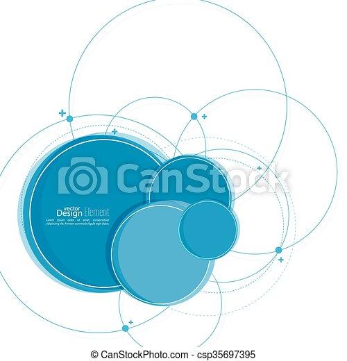 円, 抽象的, 背景, 重なり合う. 円, ノード, 分子, dots., 混沌として ...