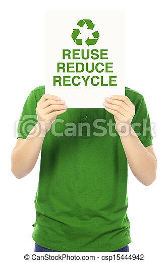再使用, リサイクルしなさい, 減らしなさい - csp15444942