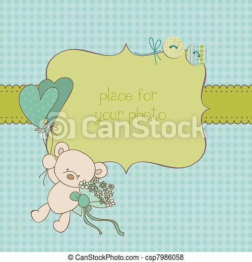 写真フレーム, 挨拶, ベクトル, 場所, テキスト, 赤ん坊, あなたの, カード - csp7986058