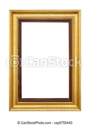 写真フレーム, 白, 金, 優雅である - csp5755443