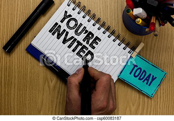 写真, 私達の, マーカー, テーブル, markers., invited., ゲスト, どうか, 執筆, メモ, レ, 保有物, メモ, 祝福, ありなさい, ビジネス, clothespin, 提示, 歓迎, ノート, あなた, 人, 参加しなさい, 木製である, 私達, showcasing - csp60083187