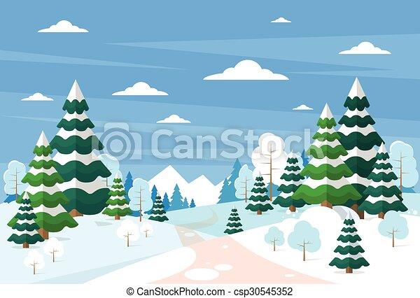 冬ツリー, 雪, クリスマス, 風景, 森林, 松, 背景, 森 - csp30545352