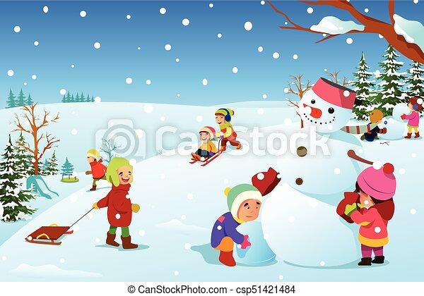 冬 イラスト 外で遊ぶこと の間 子供 冬 イラスト 子供 外