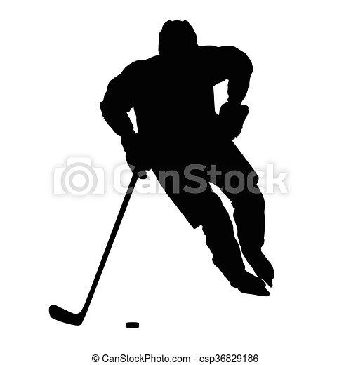 冬, 前部, 隔離された, 氷, シルエット, スポーツ, プレーヤー, ベクトル, ホッケー, 光景 - csp36829186