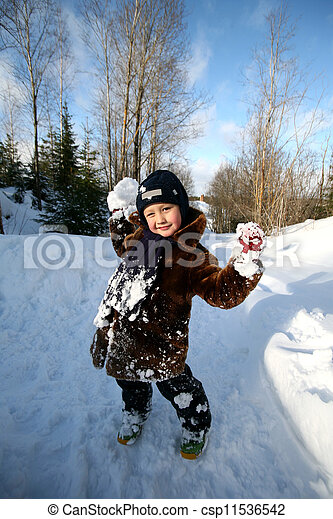 冬, 男の子, 屋外で - csp11536542
