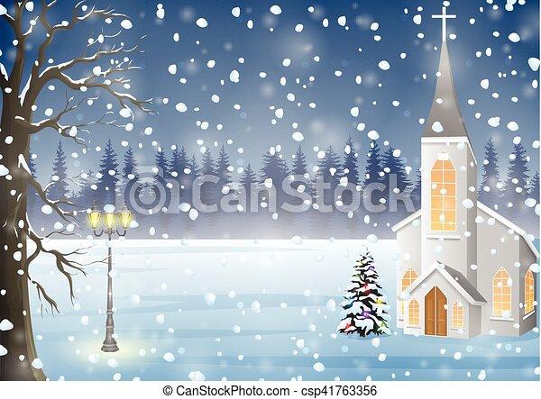 冬 背景 夜 教会 クリスマス 風景 冬 イラスト ベクトル 背景