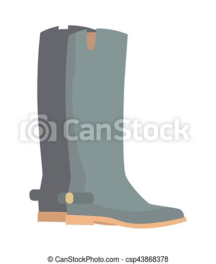 冬, 隔離された, ブーツ, 灰色, ゴム, white., 靴 - csp43868378