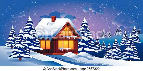 冬 雪 漂流 ベクトル イラスト 風景 モミ 木冬 家 木 雪
