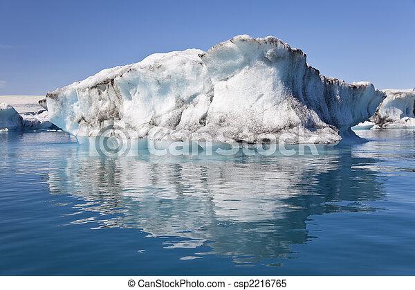 冰岛, 环礁湖, 冰山, 反映, jokulsarlon - csp2216765