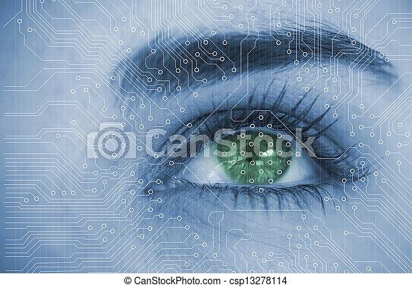分析, cir, 終わり, 目, 女 - csp13278114