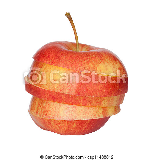 切口, アップル, 赤, に薄く切る - csp11488812