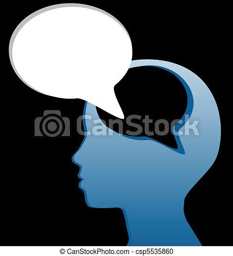切口, 心, スピーチ, 社会, 話す, 泡, 考えなさい, から - csp5535860