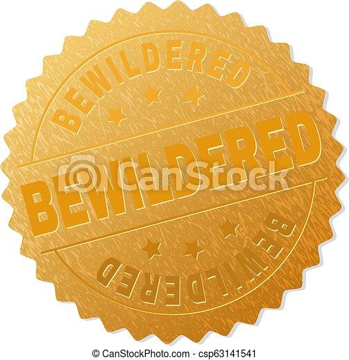 切手, 当惑させている, バッジ, 金 - csp63141541