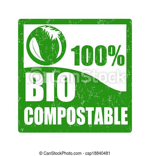切手, bio, compostable - csp18840481