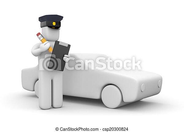 切符, 警官, 執筆 - csp20300824