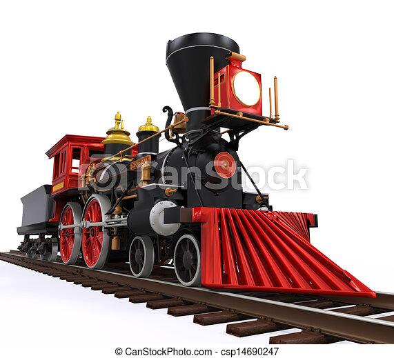 列車, 古い, 機関車 - csp14690247