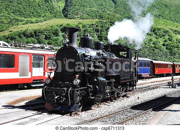 列車, 古い, 蒸気 - csp6711313