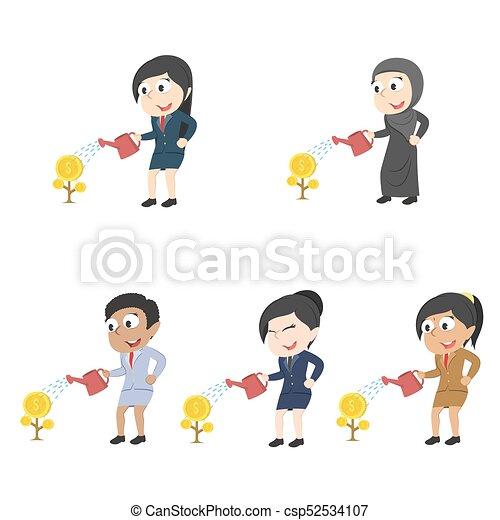 別, セット, 女性実業家, 水まき, 木, レース, コイン - csp52534107