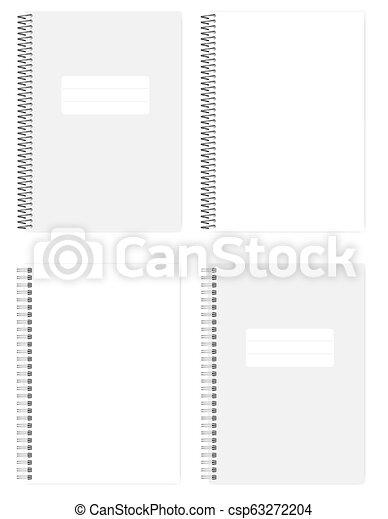 別, ワイヤー, mockup, らせん状の跳躍, ノート, a4, ブランク, 白 - csp63272204